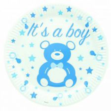 bleu1121be assiette baby shower jetable carton decoration table