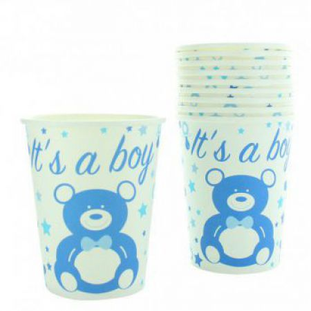 1123be gobelet baby shower decoration table carton jetable bleu