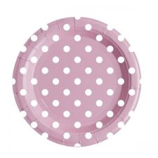 assiete ronde en carton rose a pois blancs 23 cm