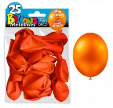 25 ballons metallises orange 30 cm